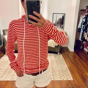 J Crew Red/White Striped Hoodie Size XS